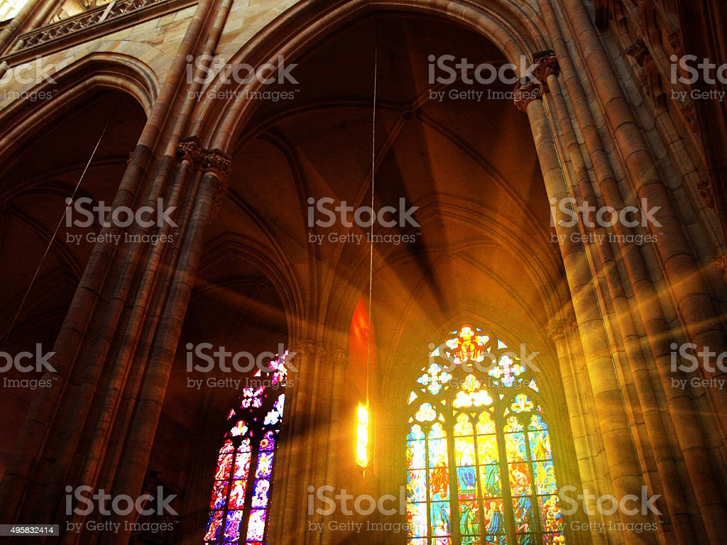 Interior of St. Vitus Cathedral, Prague, Czech Republic stock photo