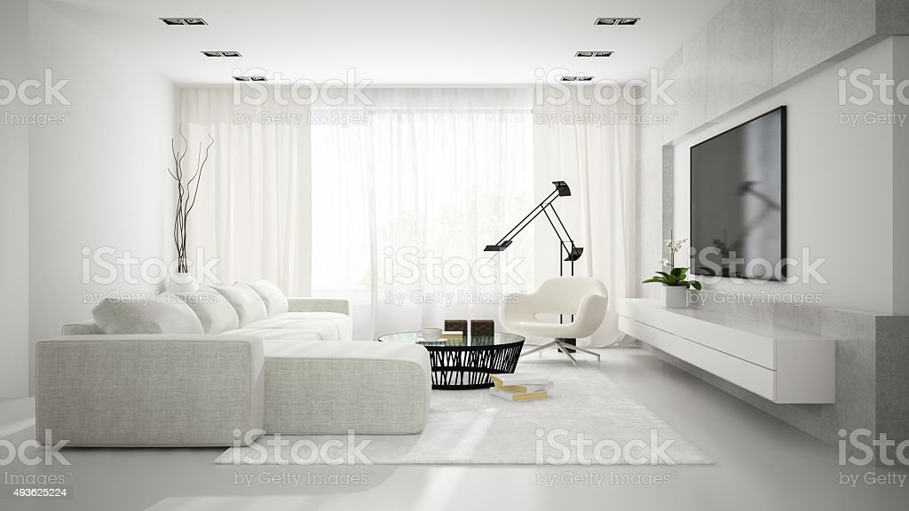 Interior of stylish modern room  with white sofa 3D rendering stock photo