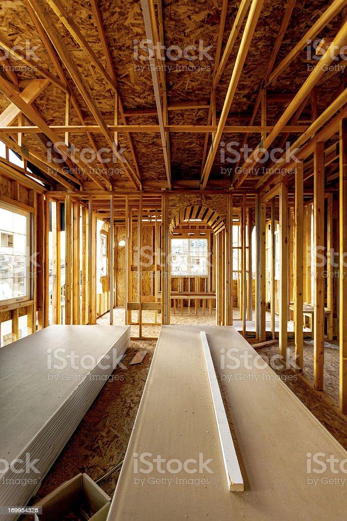 Interior of Suburban Home Under Construction stock photo