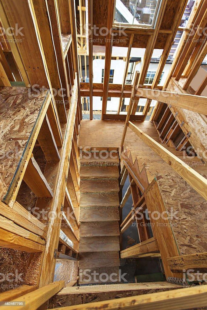 Interior of Suburban House Under Construction stock photo