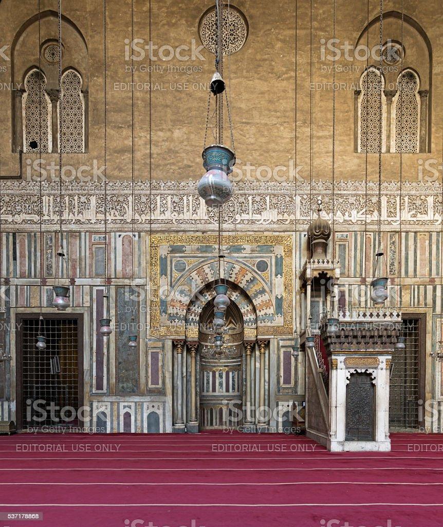 Interior of Sultan Hasan Mosque, Cairo, Egypt stock photo