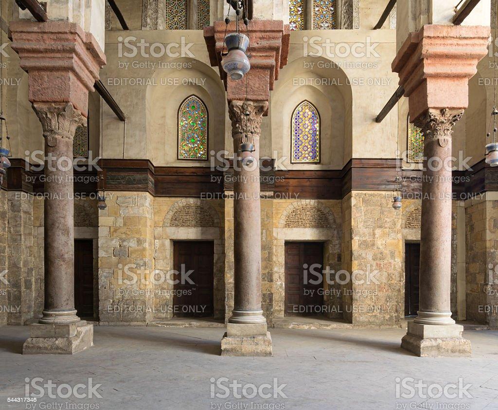 Interior of Sultan Qalawun Mosque stock photo