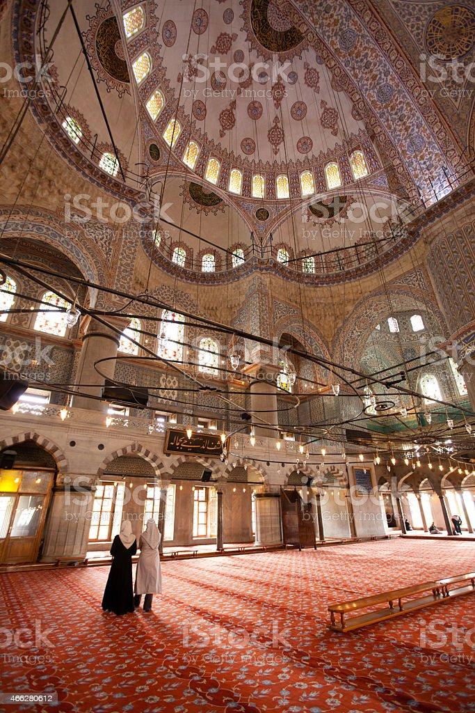 Interior of Sultanahmet Mosque - Istanbul Turkey stock photo