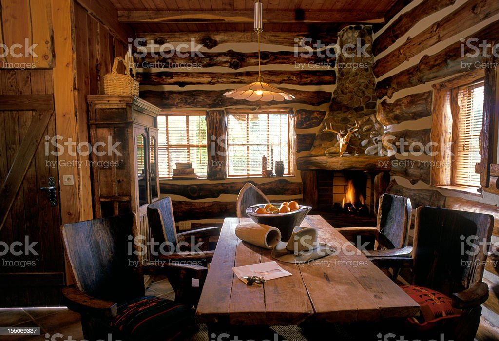interior of Texan log cabin stock photo