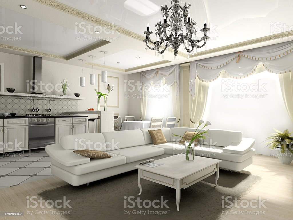 Interior of the apartment in classic style royalty-free stock photo
