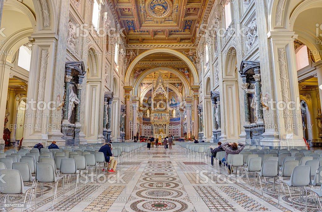 Interior of the Basilica di San Giovanni in Laterano, Rome stock photo