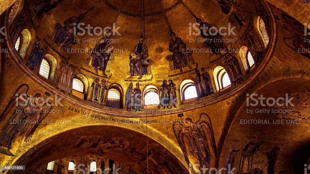 Interior of the Basilica di San Marco in Venice stock photo