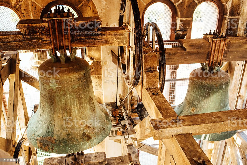 Interior of the bell tower stock photo