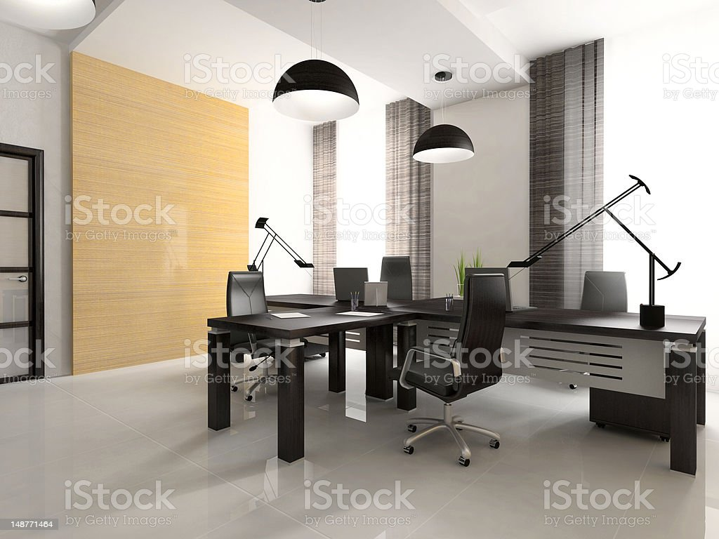 Interior of the cabinet in office 3D rendering royalty-free stock photo