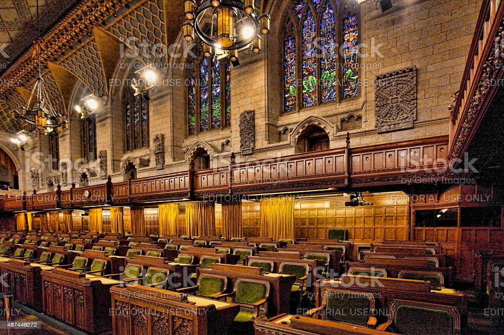 Interior of the Canada Commons of Parliament, Ottawa stock photo