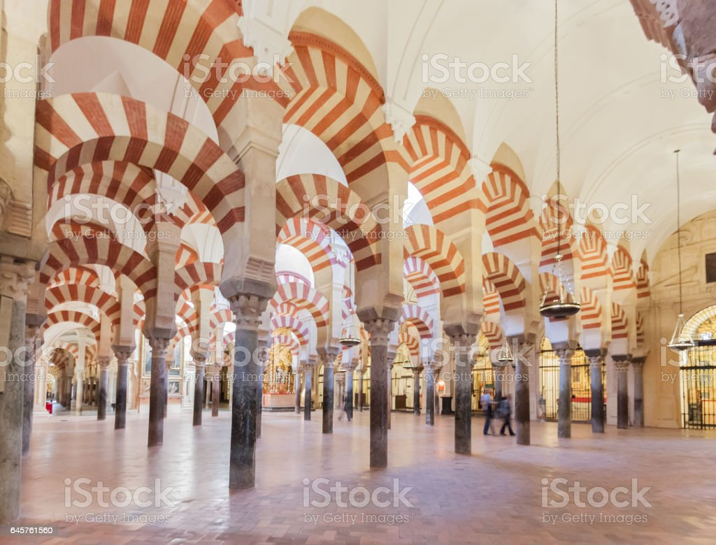 Interior of The Cathedral and Great Mosque of Cordoba, Spain stock photo
