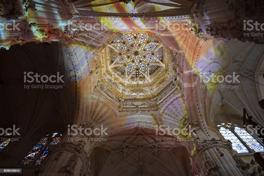 Interior of the Cathedral of Burgos. stock photo
