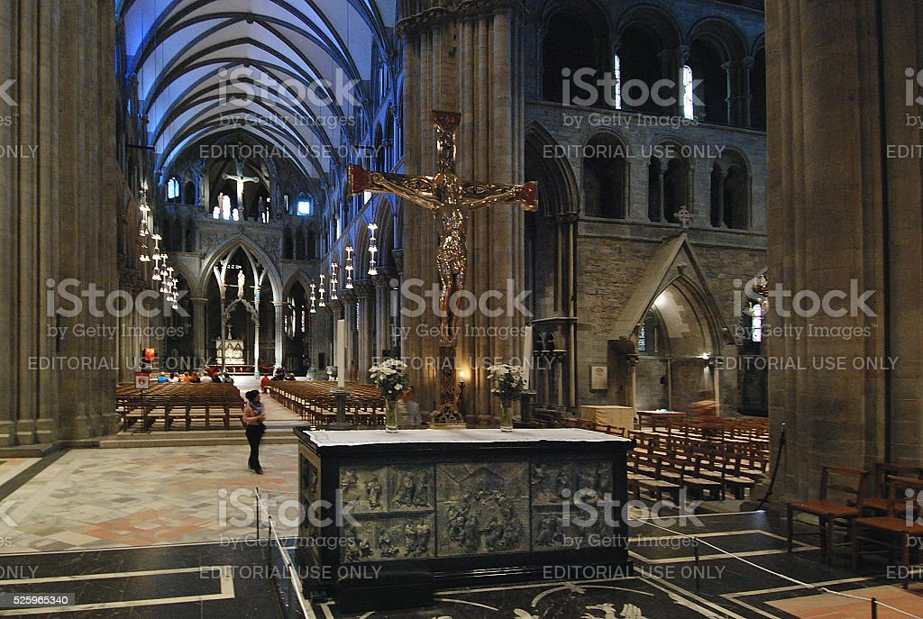 Interior of the cathedral of Trondheim, Norway stock photo