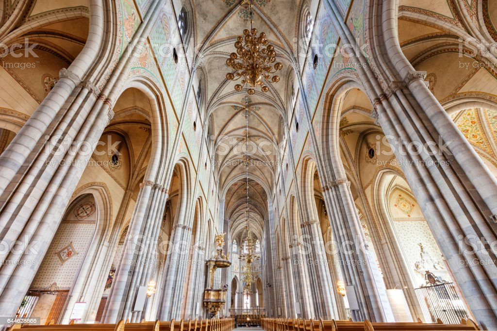 Interior of the Cathedral of Uppsala Sweden stock photo