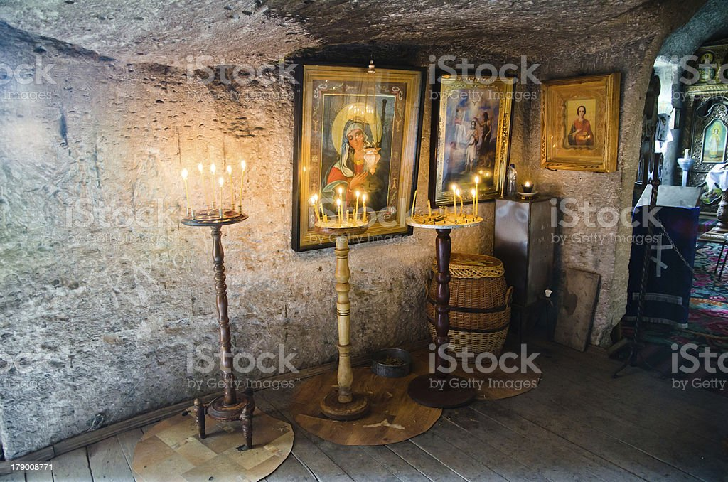 Interior of the Cave monastery stock photo