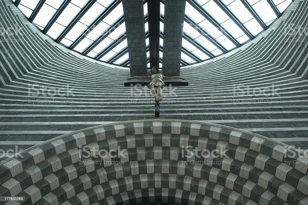 Interior of the church at Mogno on Maggia Valley royalty-free stock photo