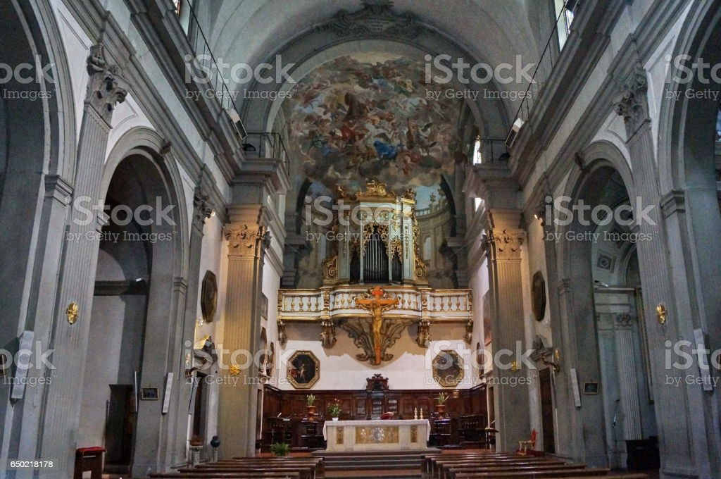 Interior of the church of San Giuseppe Florence stock photo