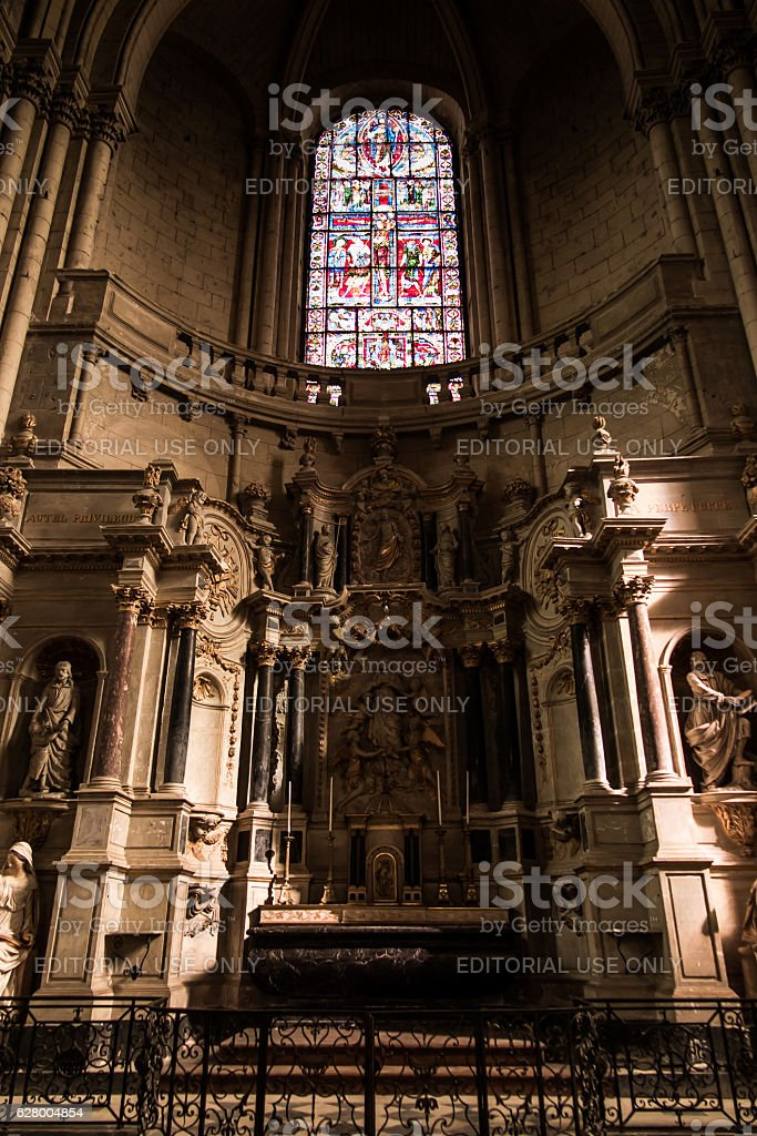 Interior of the church of St Peter in Poitiers stock photo