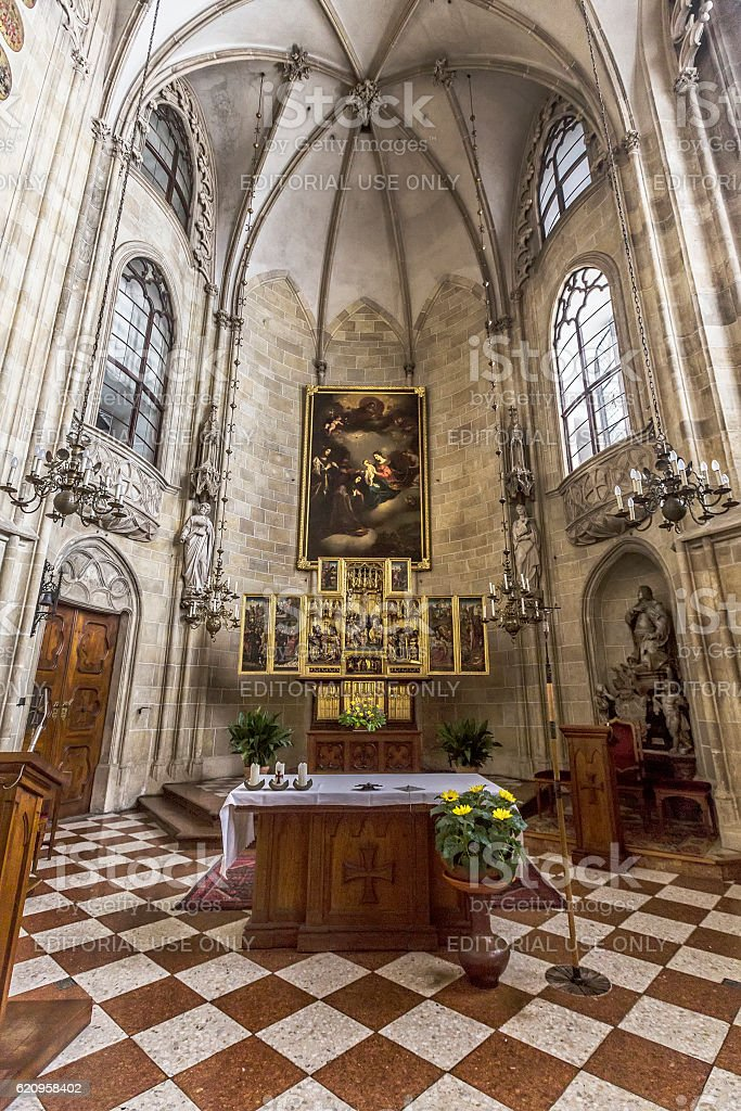 Interior of the Church of the Teutonic Order  in Vienna. stock photo