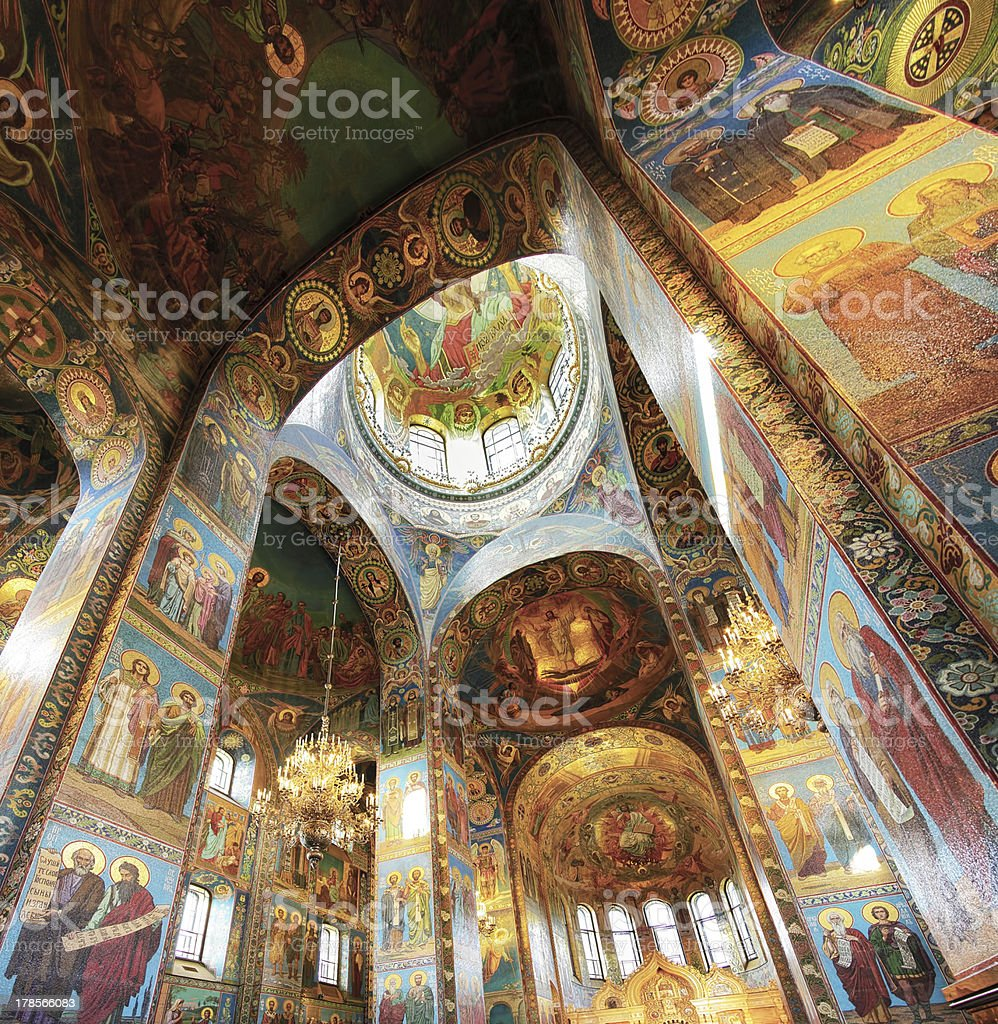 Interior of the Church  Savior on Spilled Blood stock photo