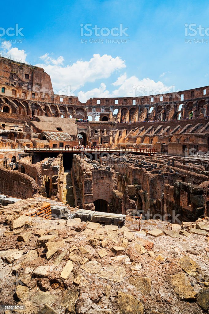 Interior of The Colosseum in Rome, Italy stock photo