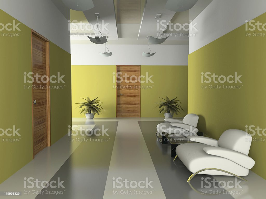 Interior of the corridor in office 3D rendering royalty-free stock photo