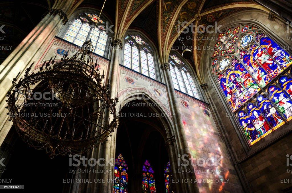 Interior of the famous neo gothic Votivkirche (Votive Church) in Vienna stock photo