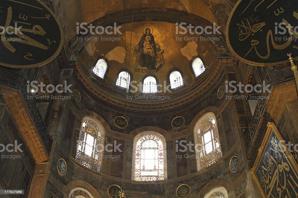 Interior of the Hagia Sophia in Istanbul royalty-free stock photo