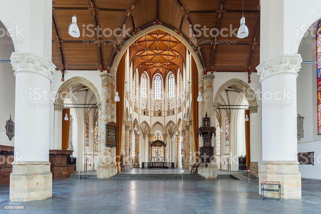 interior of The Hague's Grote Kerk stock photo