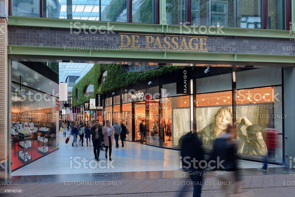 interior of The Hague's Nieuwe Haagse Passage stock photo