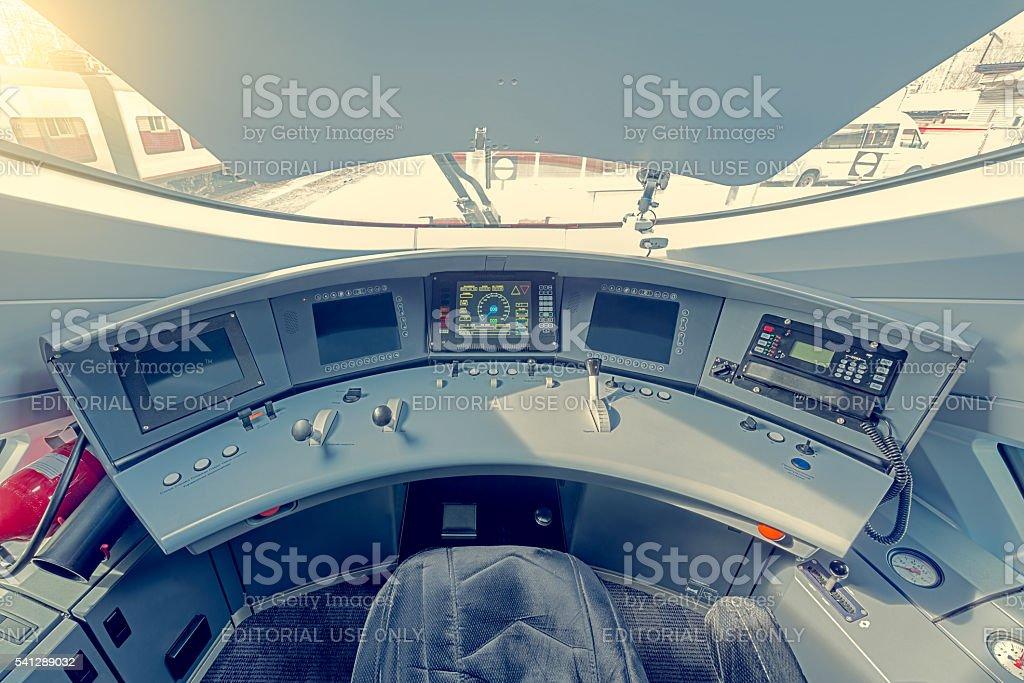 Interior of the highspeed train cockpit. stock photo