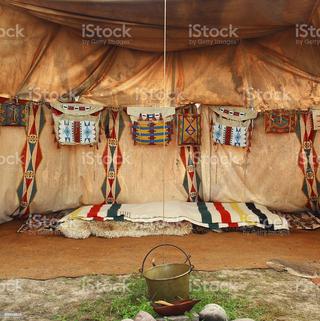 interior of the Indian tent royalty-free stock photo