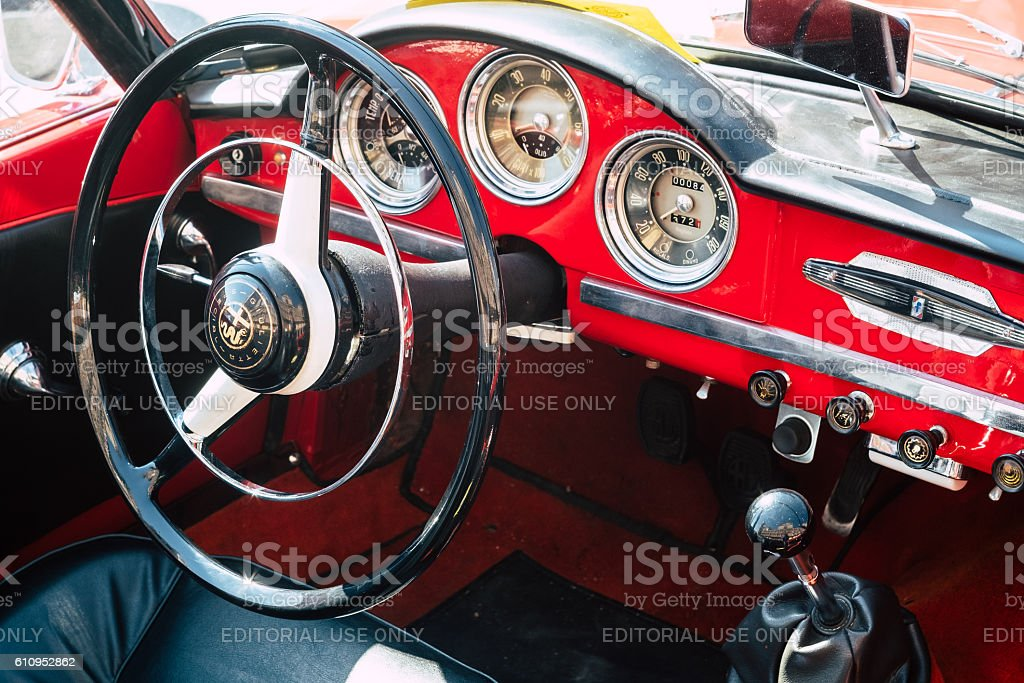 Interior of the Italian classic car, Alfa Romeo Giulietta Speci stock photo