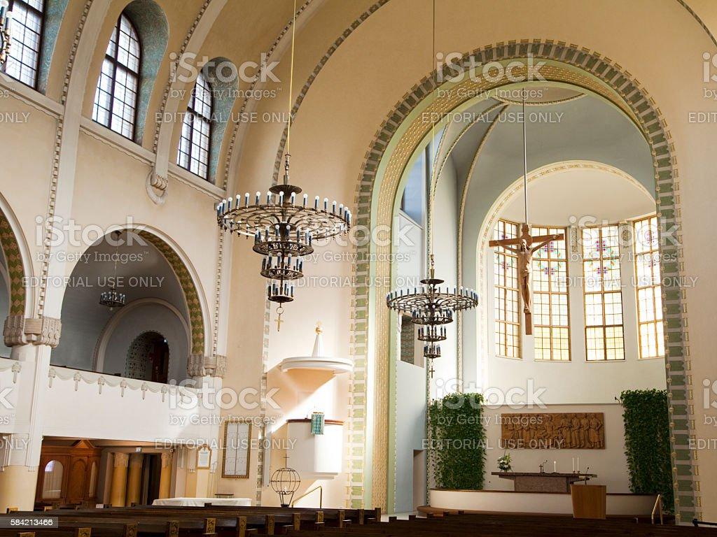 Interior of the Kallio Church in Helsinki, Finland stock photo