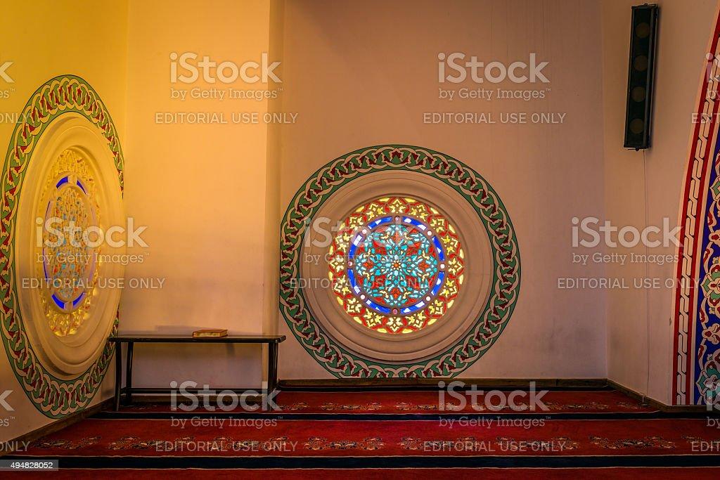 Interior of the Kocatepe mosque in Ankara stock photo