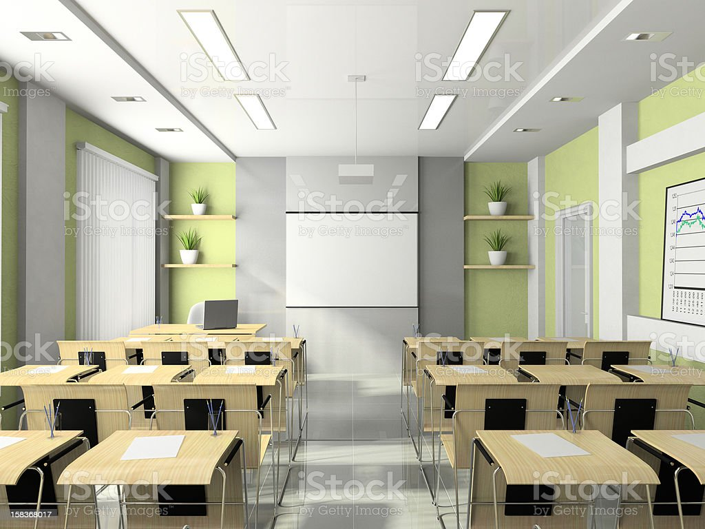 Interior of the lecture-room for seminars, studies, trainings or meetings royalty-free stock photo