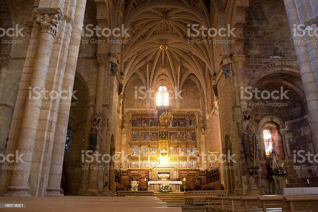 Interior of the Leon Cathedral stock photo