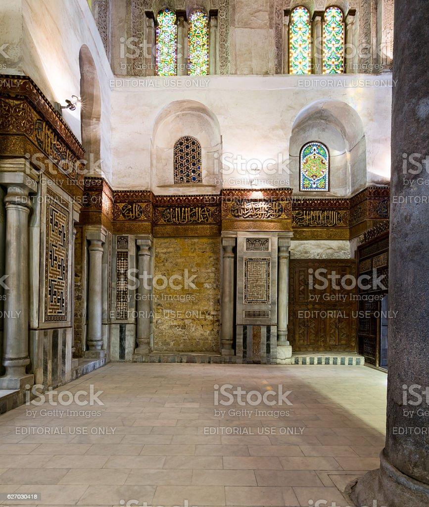 Interior of the Mausoleum of Sultan Qalawun, Old Cairo, Egypt stock photo