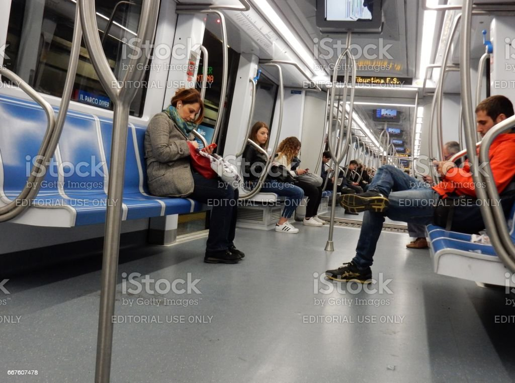 Interno della metro stock photo