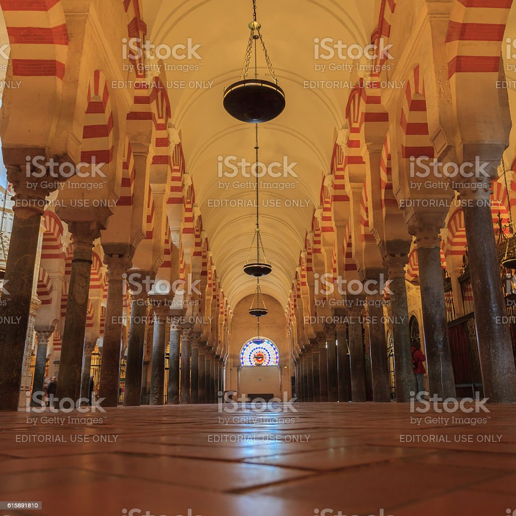 Interior of the Mezquita in Cordoba, Spain stock photo