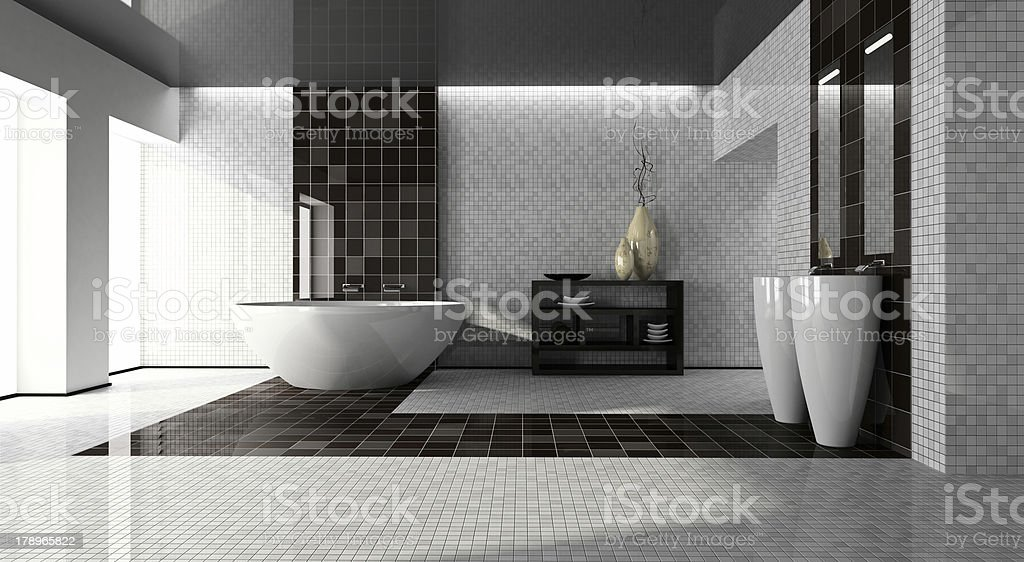 Interior of the modern bathroom 3D stock photo