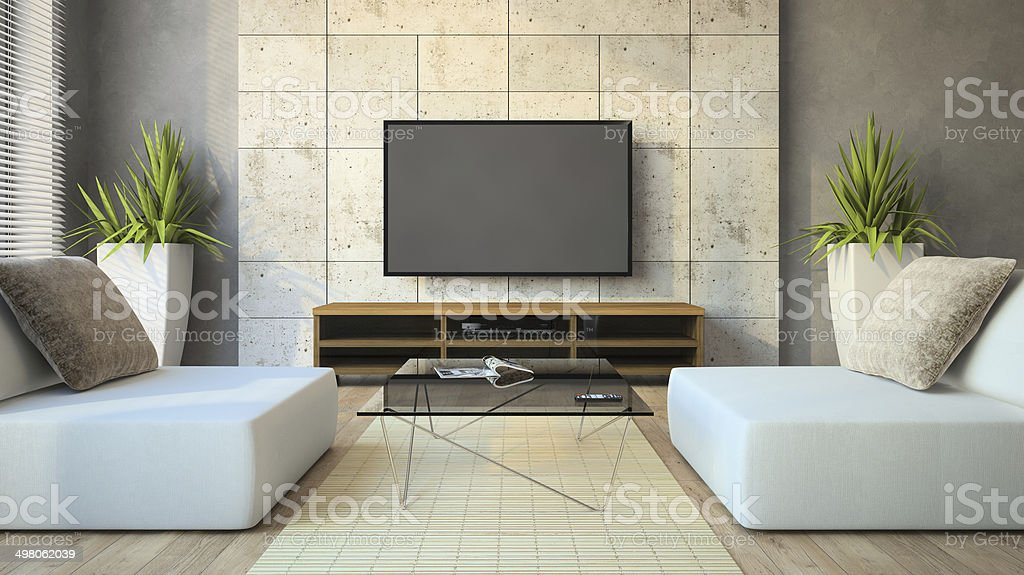 Interior of the modern loft with glass table stock photo