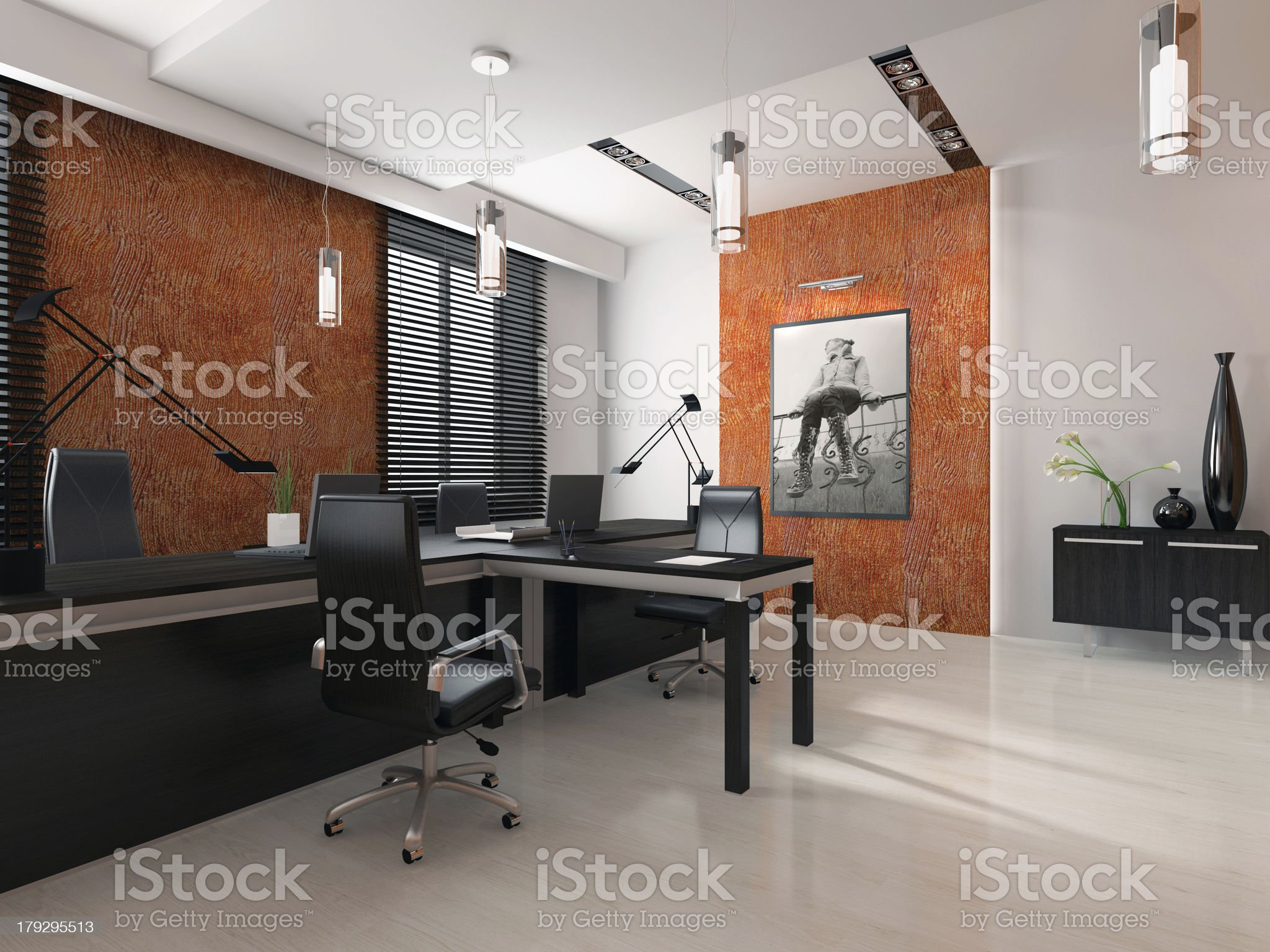 Interior of the modern office 3D rendering royalty-free stock photo