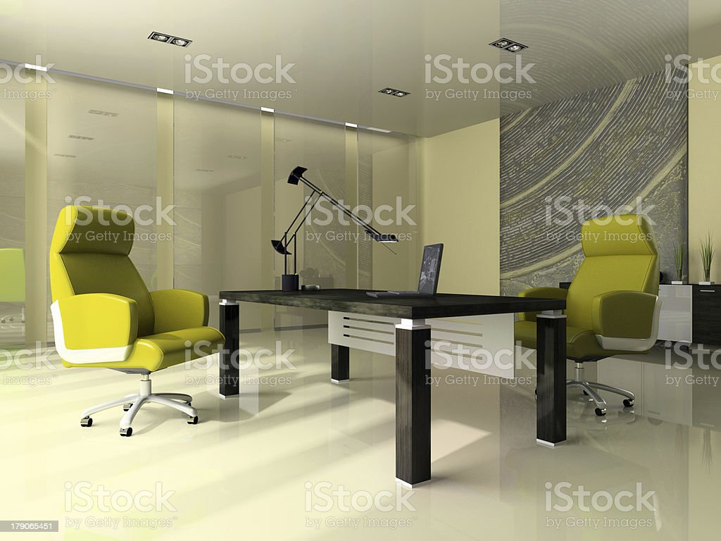 Interior of the modern office with two green armchairs stock photo
