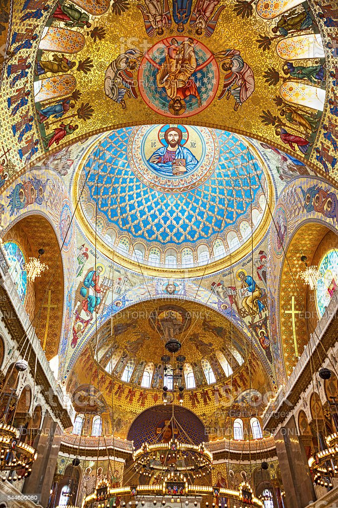 Interior of The Naval Orthodox Cathedral of Saint Nicholas stock photo