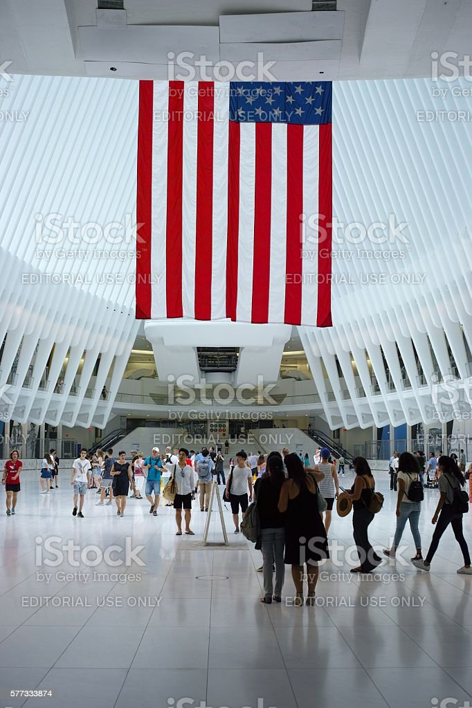 Interior of the new Oculus World Trade Center PATH station stock photo