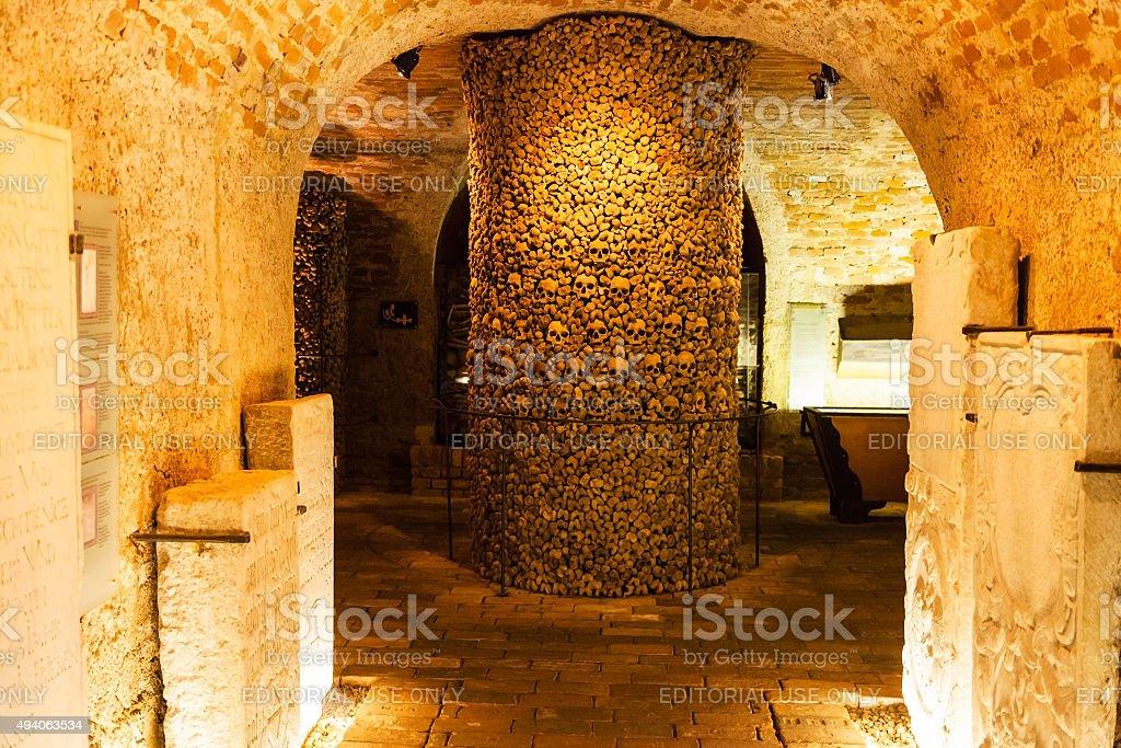 interior of the Ossuary of St James Church, Brno stock photo