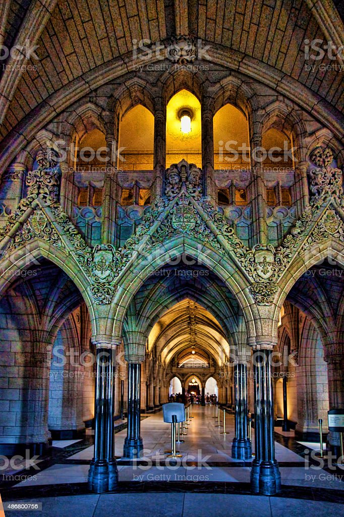 Interior of the Parliament Building in Ottawa, Canada stock photo