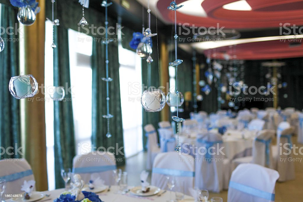 Innenansicht des Restaurants, dekoriert Lizenzfreies stock-foto