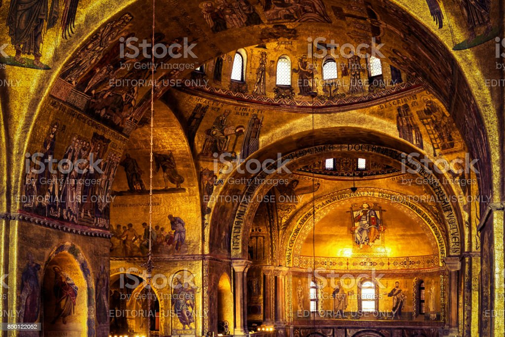 Interior of the Saint Mark`s Basilica in Venice stock photo